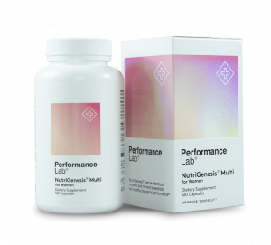 Bottle of Performance Lab NutriGenesis Multi for Women
