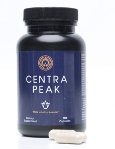 Bottle of Centrapeak and capsules