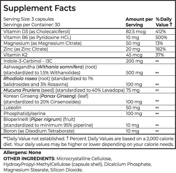 Supplement facts for male virility pill, Centrapeak