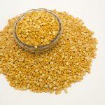 Yellow split peas used to make pea protein, a plant-based vegan protein