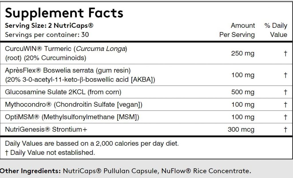 Supplement facts for Performance Lab Flex